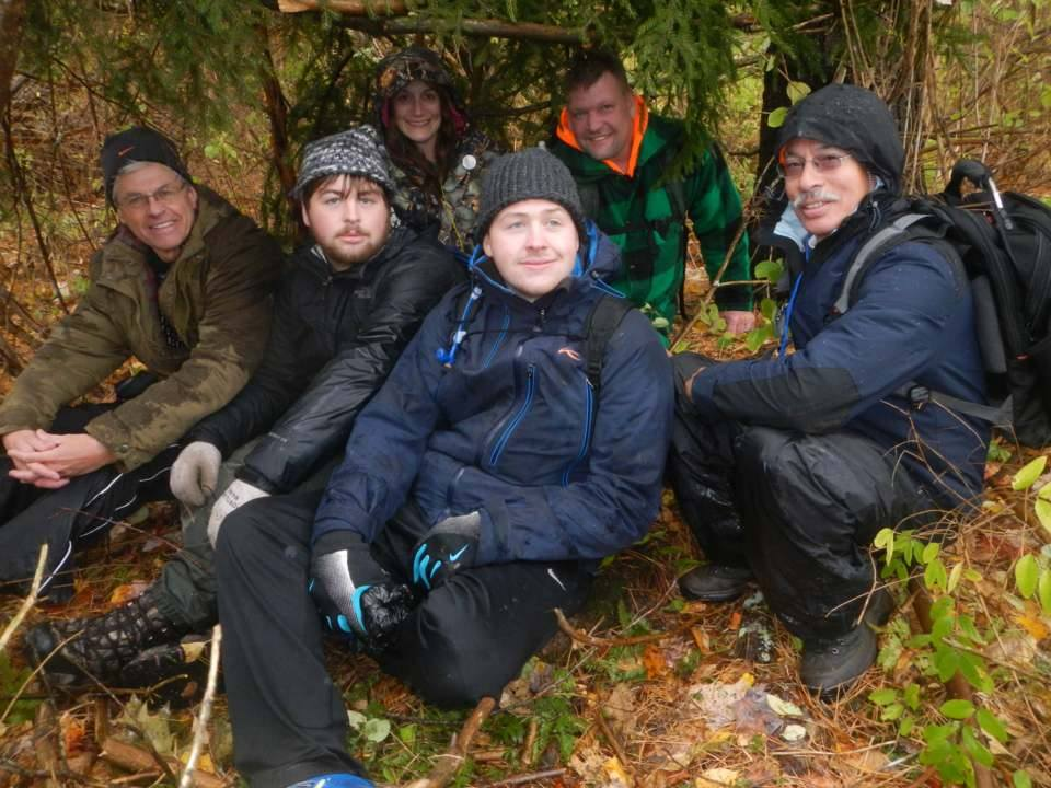 The GIT crew trying out Henry's shelter. Photo credit Alice's Awesome Adventures.